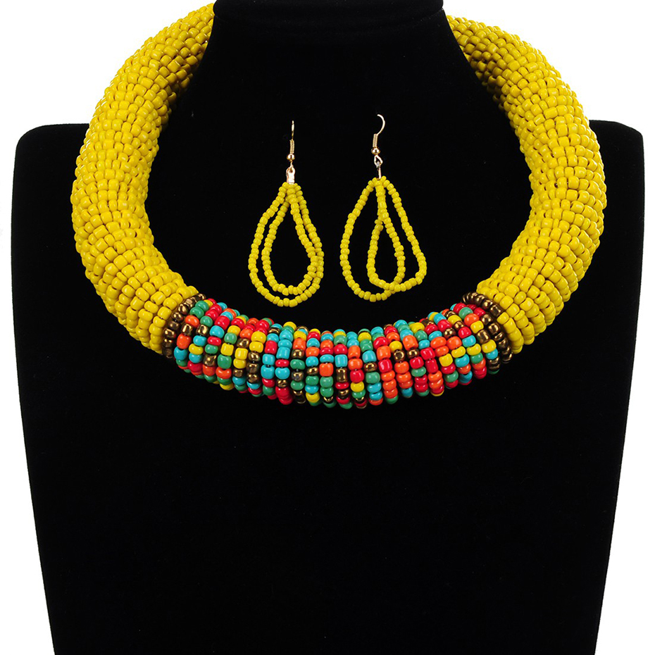 Fashion Jewelry Set 10 Colors Handmade Resin Bead Winding Chain Necklace Earring for Women