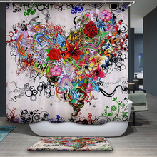 New Arrivals Shower Curtain Nordic Vector Cartoon Colorful Pattern Home Decor Waterproof Bathroom Fabric
