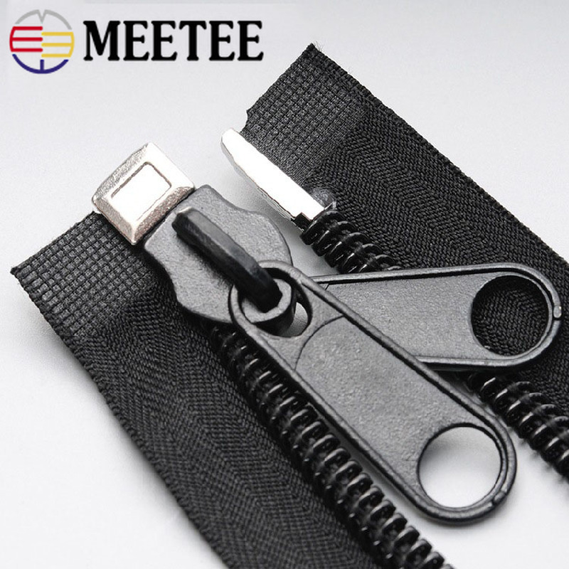 Meetee 10# Plastic Nylon Zippers Black Open End Long Zip for Outdoor Tent Zipper DIY Tailor Sewing Craft Bag Clothes Accessories