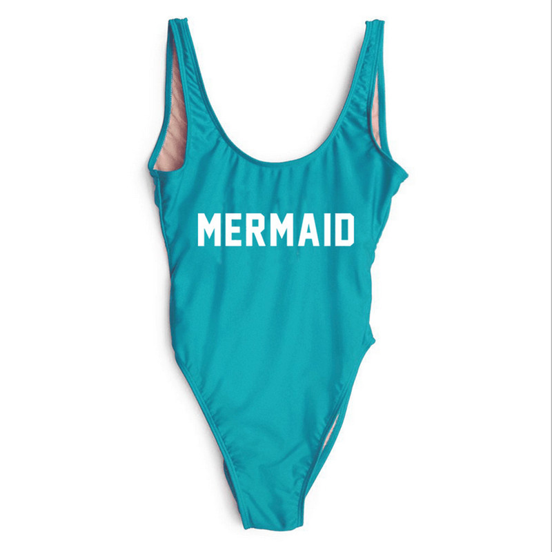 Mermaid Funny Letters Swimsuits 2017 Women Sexy High Cut One Piece Swim Suit Bodysuit Low Back Bathsuit Swimwear Playsuit women s thongs swimsuits swimming suit new arrival sexy high cut thong one pieces swimwear sports thongs bodysuit swim suits