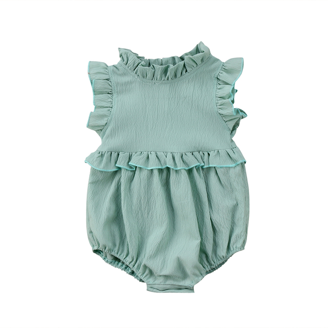 Baby Girls Sleeveless Ruffles Romper Jumpsuit Outfits Summer