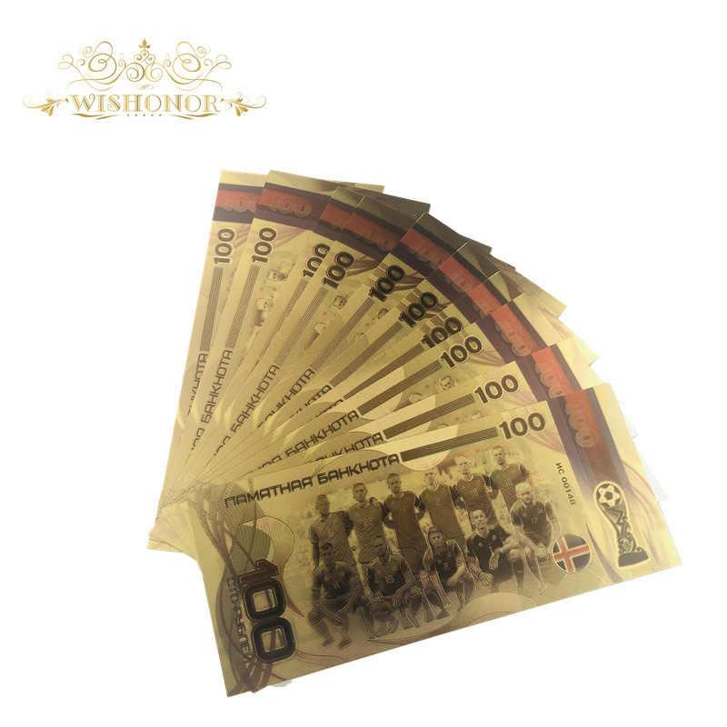 10 шт./партия 2019 российские золотые банкноты футбольная команда банкноты 100 рубля счетчик банкнот деньги позолоченный бизнес подарок