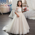 Beautiful Champagne Lace Flower Girl Dress 2017 with Sleeves Lace Train Kids Corset Ball Gown Prom Dress for Girls Size 8 12