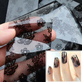 1pcs New Sexy Black Lace Flowers Nail Art Transfer Foil Stickers Decals DIY Beauty Nail Craft Decorations