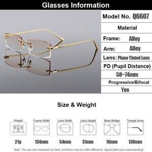 Image 5 - Gmei אופטי מלבן זהב טיטניום סגסוגת גברים של יהלומי זמירה ללא שפה משקפיים מסגרת שיפוע חום גוון Plano עדשות Q6607