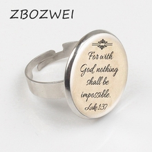 ZBOZWIE 2018 Newest Fashion Jesus Jewelry Christian Ring Faith With God Nothing is Impossible Quote Jewelry Glass Saying Ring zbozwie romans 8 31 bible quote ring if god is for us who can be against us verse christian nursery jewelry women men gifts ring