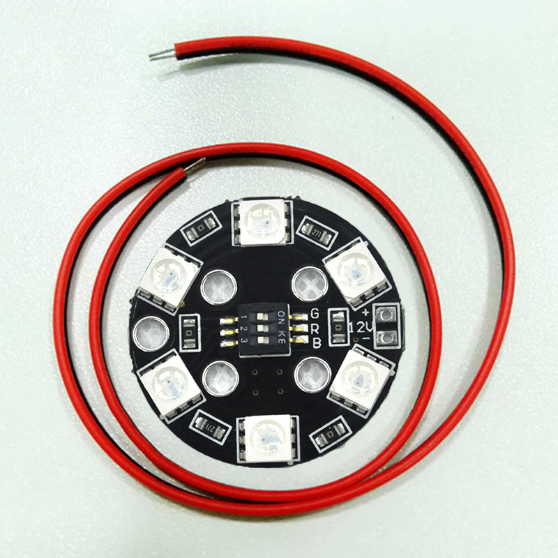 4 pieces High-quality 7 Color RGB RGB5050 LED Round Circle Board 5050 X6/12V for FPV RC Multicopter F17710 ZMR UAV