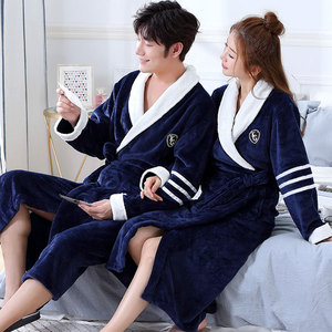 Image 4 - Thicken Warm Couple Style Flannel Robe Winter Long Sleeve Bathrobe Sexy V Neck Women Men Nightgown Lounge Sleepwear Home Clothes