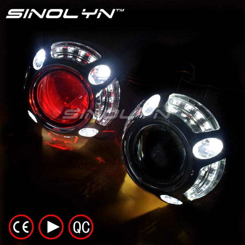 SINOLYN Angel Eyes LED Car Projector Lens HID Kit Bi xenon Retrofit Projector Headlight H1 H4 H7 W/WO Devil Eyes, Upgrade 8.0 2 5inch bixenon projector lens with drl day running angel eyes angel eyes hid xenon kit h1 h4 h7 hid projector lens headlight