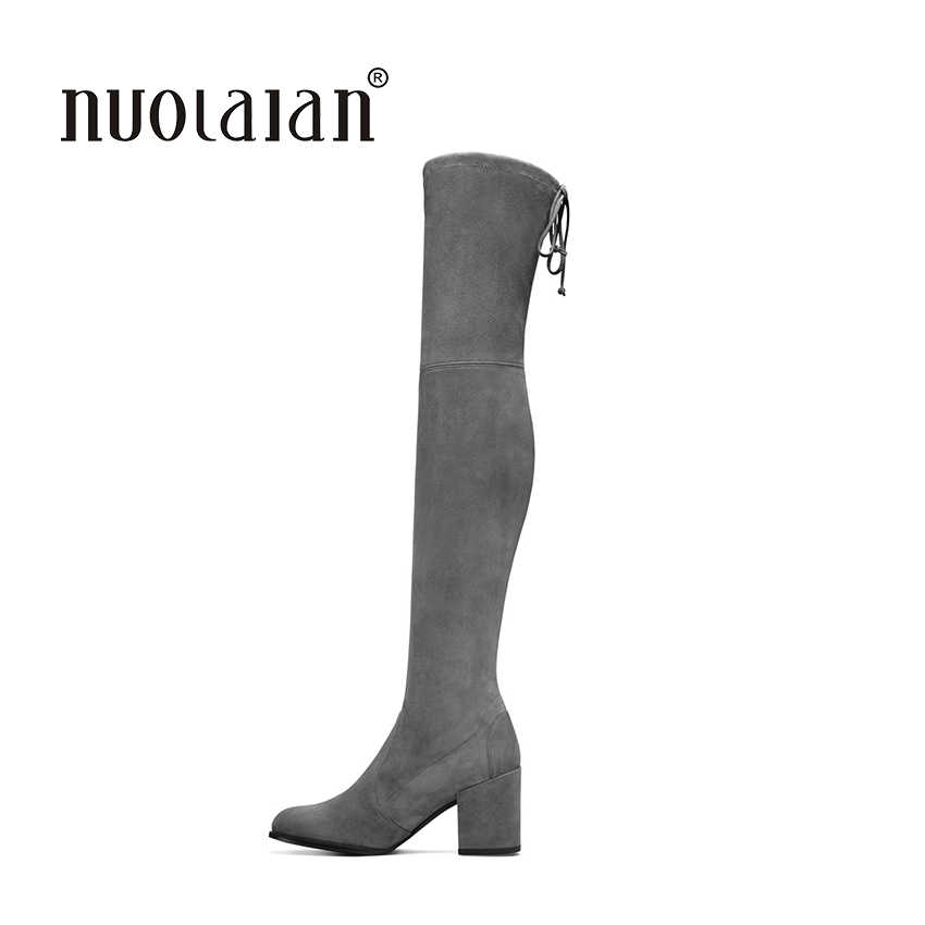 2018ฤดูใบไม้ร่วงฤดูหนาวผู้หญิงบู๊ทส์ยืดF Aux S Uedeบางต้นขาสูงรองเท้าที่ทำจากขนสัตว์ที่อบอุ่นกว่าเข่าบู๊ทส์รองเท้าส้นสูงรองเท้าผู้หญิง
