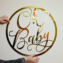 Выполненное на заказ Золотое акриловое зеркало, акриловый знак имени для детского душа, вечерние украшения, персонализированные зеркальные вывески, подарок для ребенка