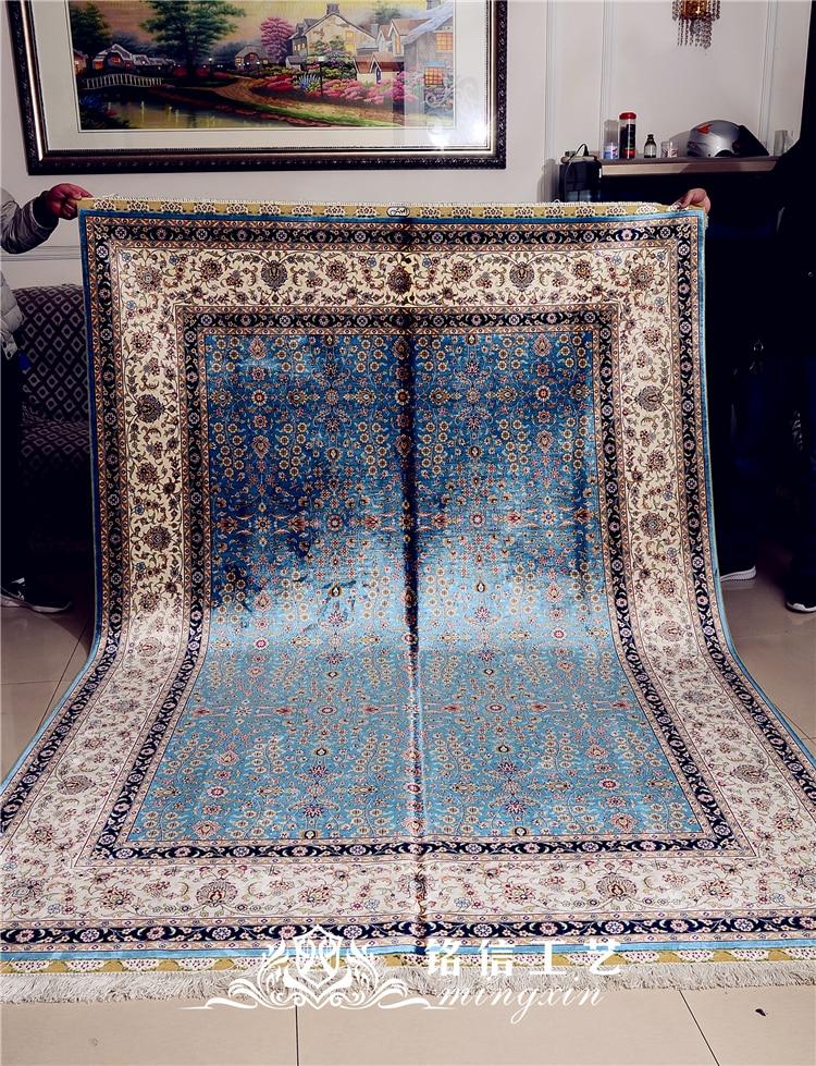 5.9 'x8. 2' Seven Mountain Flower tapis de soie persan noué à la main tapis Oriental fait main - 6