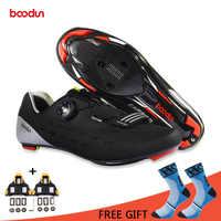 Chaussures de cyclisme Boodun vélo de route respirant en Fiber de carbone chaussures de vélo autobloquantes Zapatillas Ciclismo baskets de course athlétiques