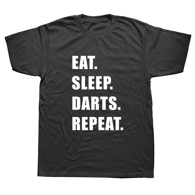 WEELSGAO New Eat Sleep Darts Repeat T Shirt Men Summer T-shirts Cotton Short Sleeve Funny Gift Top Tees