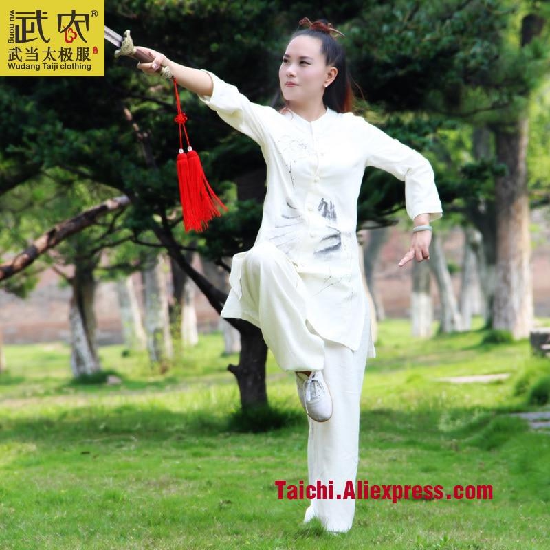 Painted Handmade  Linen Tai Chi Uniform  Taijiquan Female Clothing Summer Short Sleeved  Wushu Kung Fu  Jacket+pants