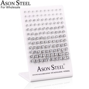 Image 3 - ASONSTEEL 60pairs/Lot Wholesale Clear Stud Earrings Round Stainless Steel Hypoallergenic Earring,Size 3 8mm(Each Size 10pairs)