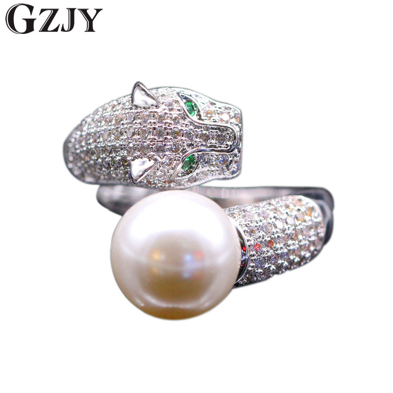 GZJY Fashion Tiger Inlay Cubic Zircon &Shell Pearl Opening Rings For Women White Gold Color Ring K02-3 simple faux zircon opening ring for women