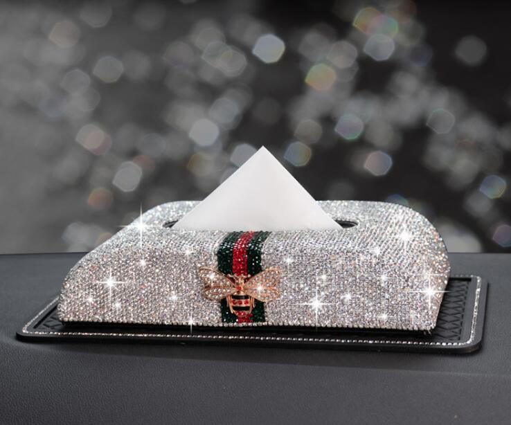 Butterfly decortive inlaid diamond leather car tissue box car tissue holder napkin holders paper napkin holder