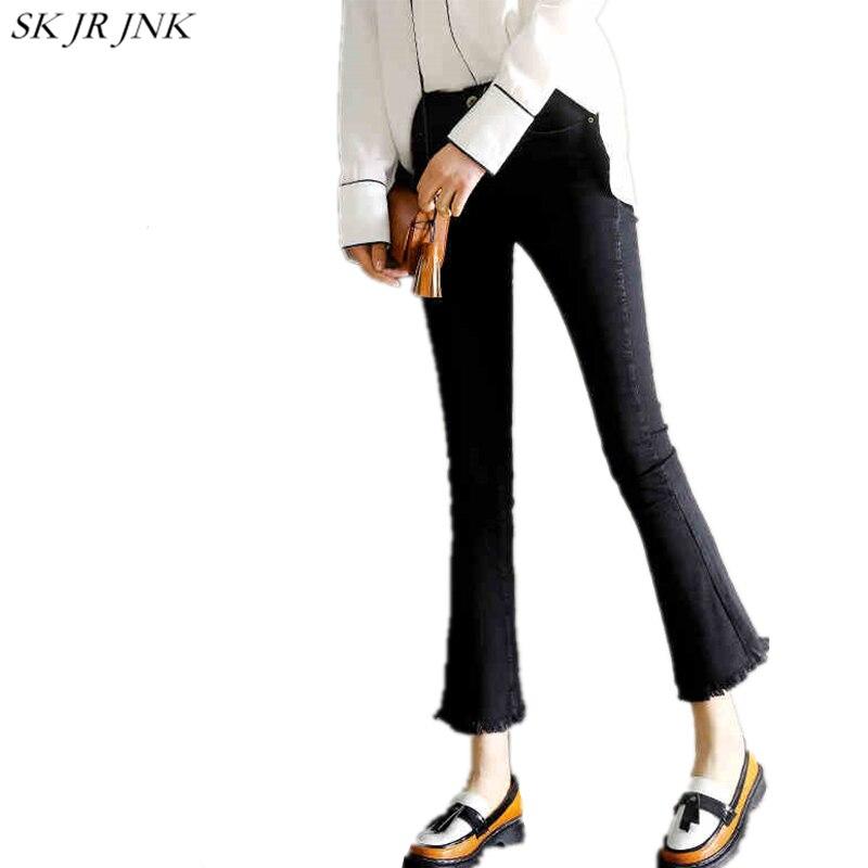Vintage black Mujer Lyl61 2017 Mujeres Leggings Denim Nuevo Casual Pantalones Primavera Gray Flared Vaqueros Tamaño Verano Más HawqY