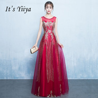 It's Yiiya Red Illusion Lace Up Bling A line Sequined Evening Dresses Floor Length Party Gown Evening Gowns Prom Dresses LX026