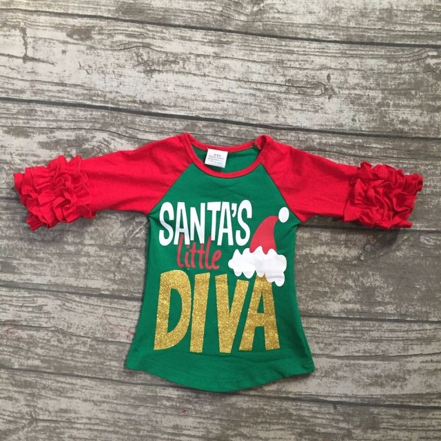 d4d34dd33 new Christmas baby girls children clothes Santa's little diva red green  ruffles top t-shirts raglans cotton boutique outfits