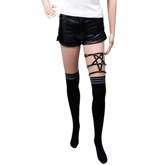 harajuku suspender for women garter belts 5 star Punk rivets legging garters for night club