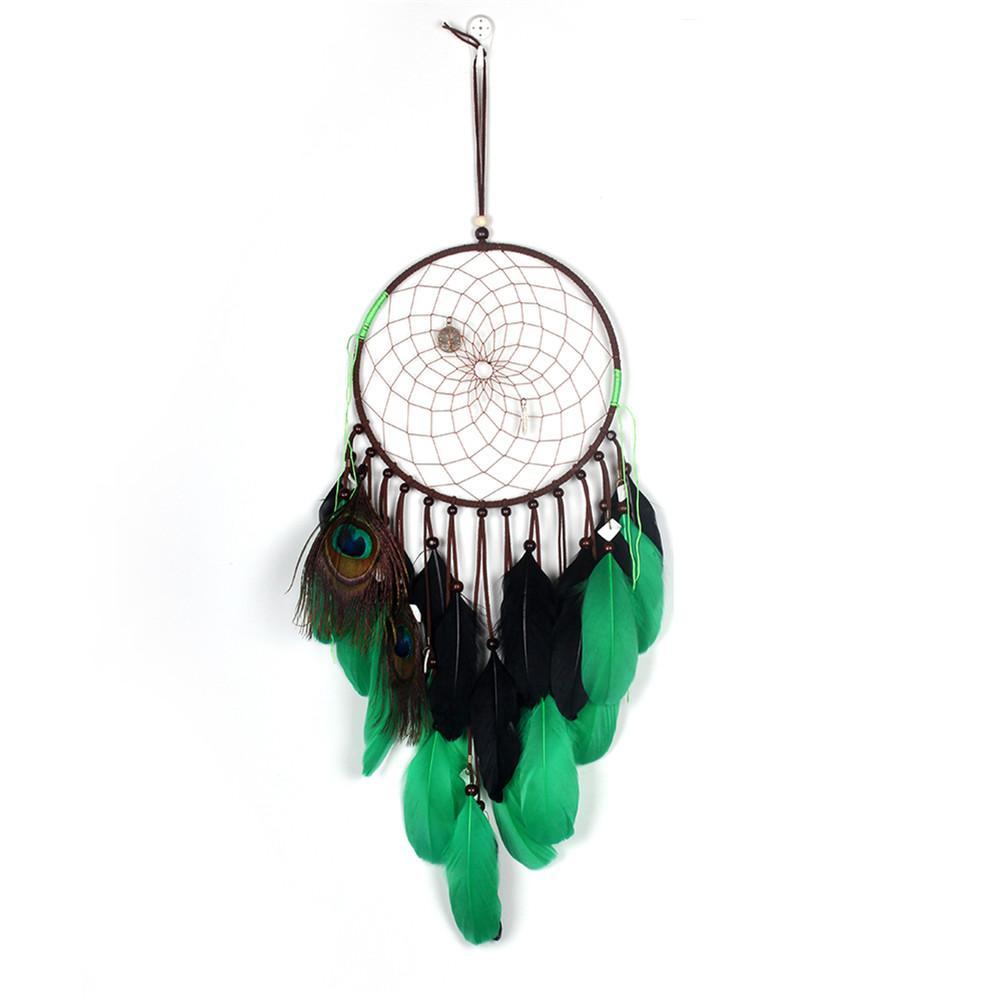 Handmade Schwarz Grun Dreamcatcher Windspiele Feder Vintage Kreative