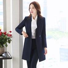 ccda5d8145a Pant Suits Women Casual Office Business Suits Formal Work Wear Sets Uniform  Styles Pant Suits Long female Coat+pants 2 Piece Set