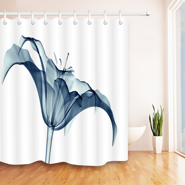 LB Lilly 3d X Ray Flower White Shower Curtain Liner Plant With Bath Mat Set
