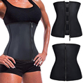 Hot Body Shapers 100% Latex Waist Cincher Front Zipper Waist Trainer Corsets With Hooks Body Shapewear Spiral Steel Bone Corset