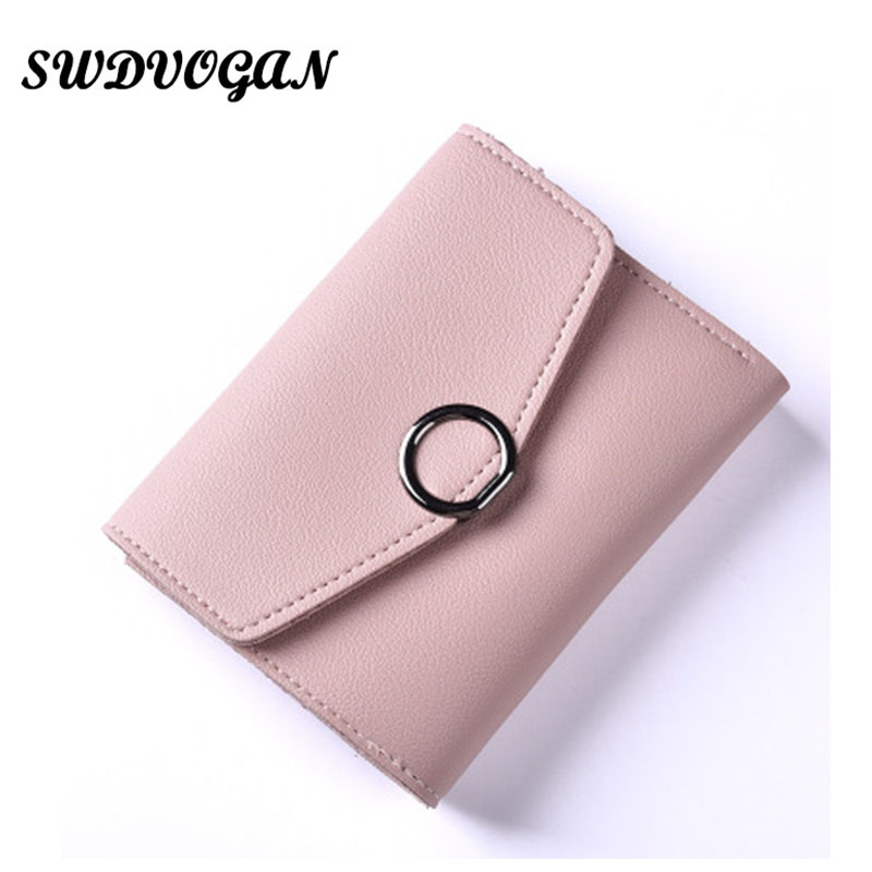 SW Fashion Wallet Women Solid Clasp Thin Wallet Female Small Card Holder Coin Purse Women Wallets Girls Portefeuille Femme G010