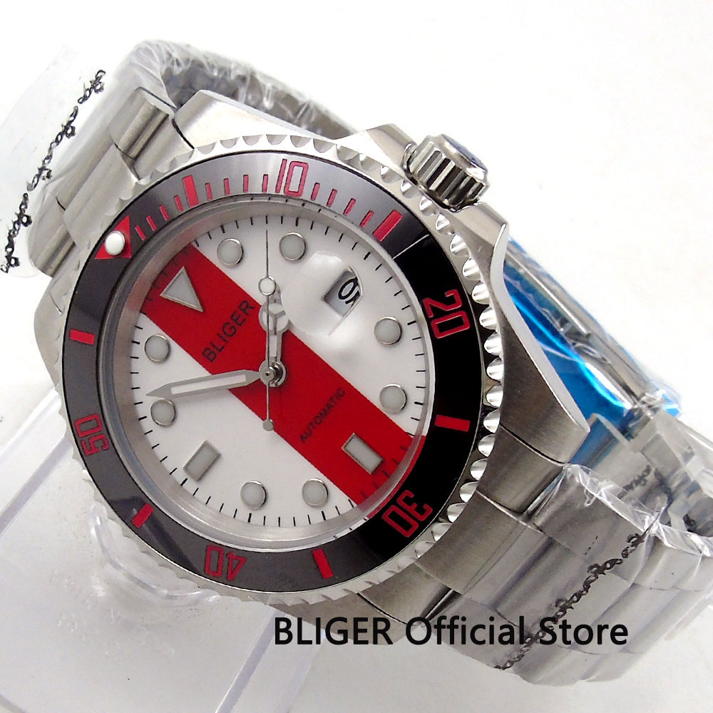Sapphire Crystal BLIGER 40MM White Red Dial Black Ceramic Bezel Stainless Steel Case MIYOTA Automatic Movement Men's Watch B121
