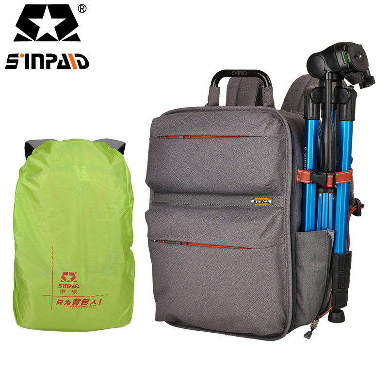 SINPAID Upgrade Waterproof multi-function Digital Video Bag w/ Rain Cover Small SLR Camera Bag PE Padded for Photographer-50 sinpaid anti theft digital dslr photo padded camera backpack with rain cover waterproof laptop 15 6 soft bag video case 50