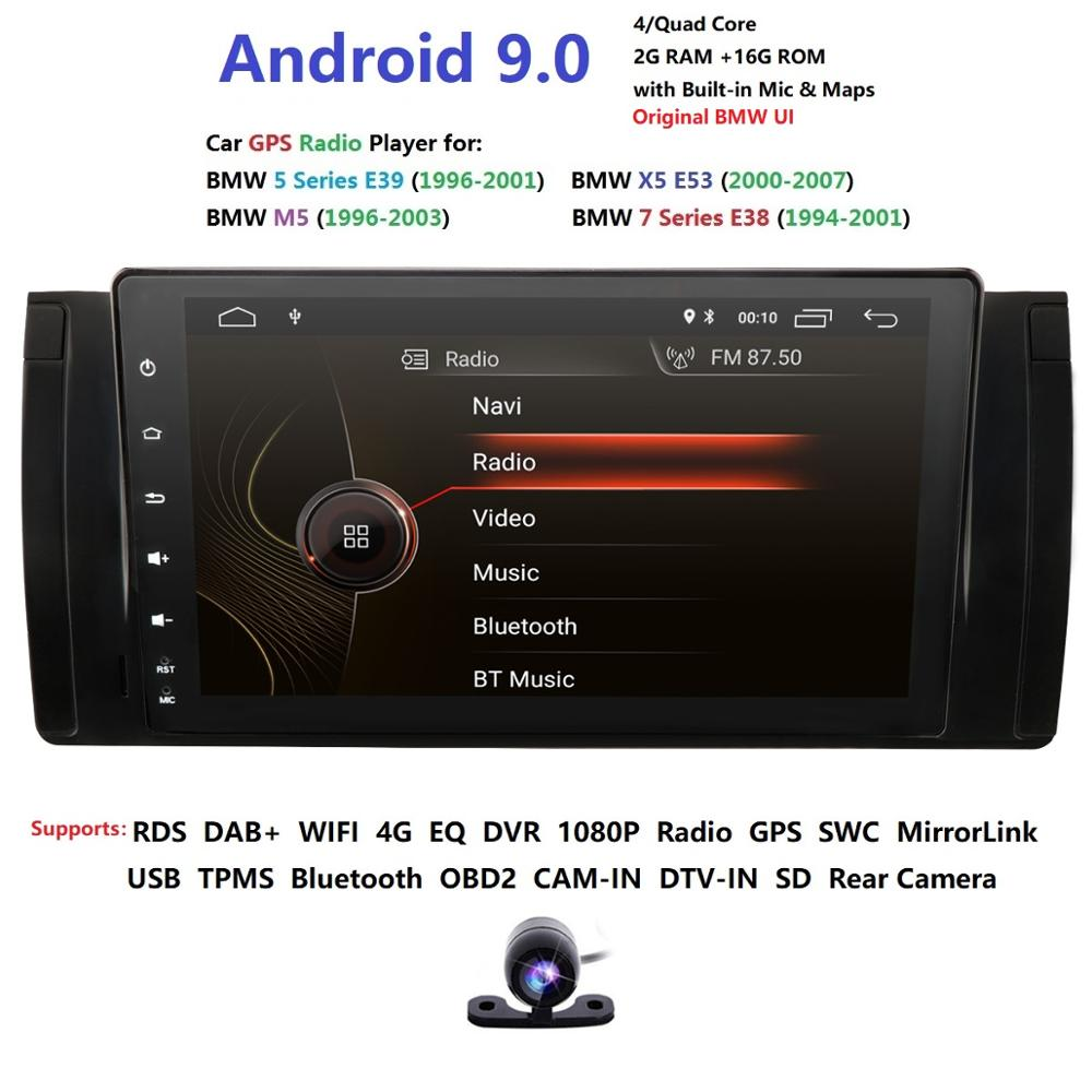 Android9.0 2GRAM 4GWIFI 16GROM GPS Navi 9''Full Touch Car NO DVD Multimedia for BMW E53 X5/E39 97 06 with BT/RDS/Radio/SWC/DVBT