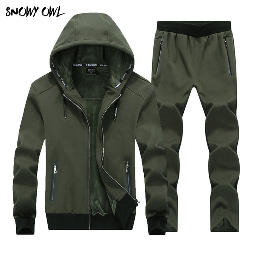 Large Size Outdoor Sporting Suits Mens Sportswear 2018 Winter 2 Piece set male Plus Velvet Thicken Tracksuits warm Hoodies H175 поднос gift