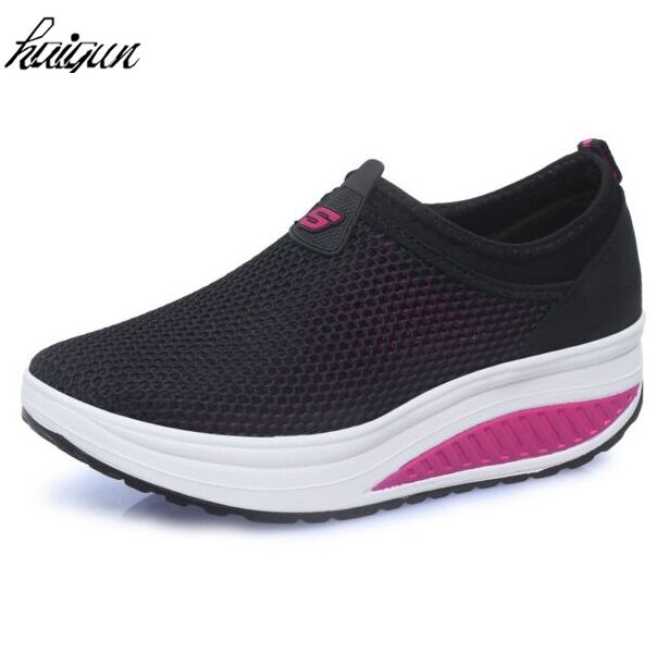 New casual shoes woman low top height increasing slimming swing shoes summer breathable air mesh platform
