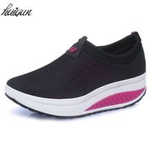 New casual shoes woman low top height increasing slimming swing shoes summer breathable air mesh platform walking shoes