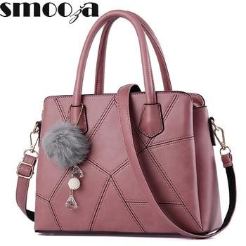 SMOOZA Hot Sale 2017 New Fashion Big Bag patchwork Women Shoulder Messenger Bag Ladies Handbag thread criss cross totes fur ball grande bolsas femininas de couro
