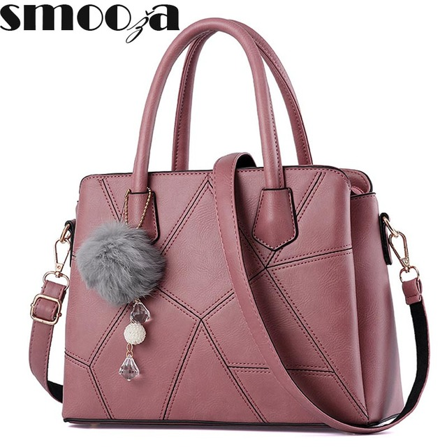 2c3ee464089f SMOOZA Hot Sale 2018 New Fashion Big Bag patchwork Women Shoulder Messenger  Bag Ladies Handbag thread criss cross totes fur ball