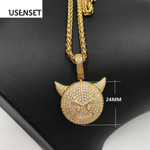 цена на USENSET Devil Pendant with spiga Rope Chain Zircon Iced Out Bling Charm Necklace