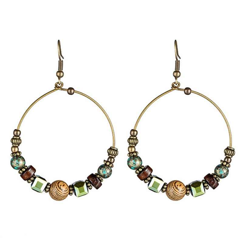 Bohemia crystal earrings for women Ethnic big circle round rings hollow tassel earring Vintage metal wooden beads earing jewlery