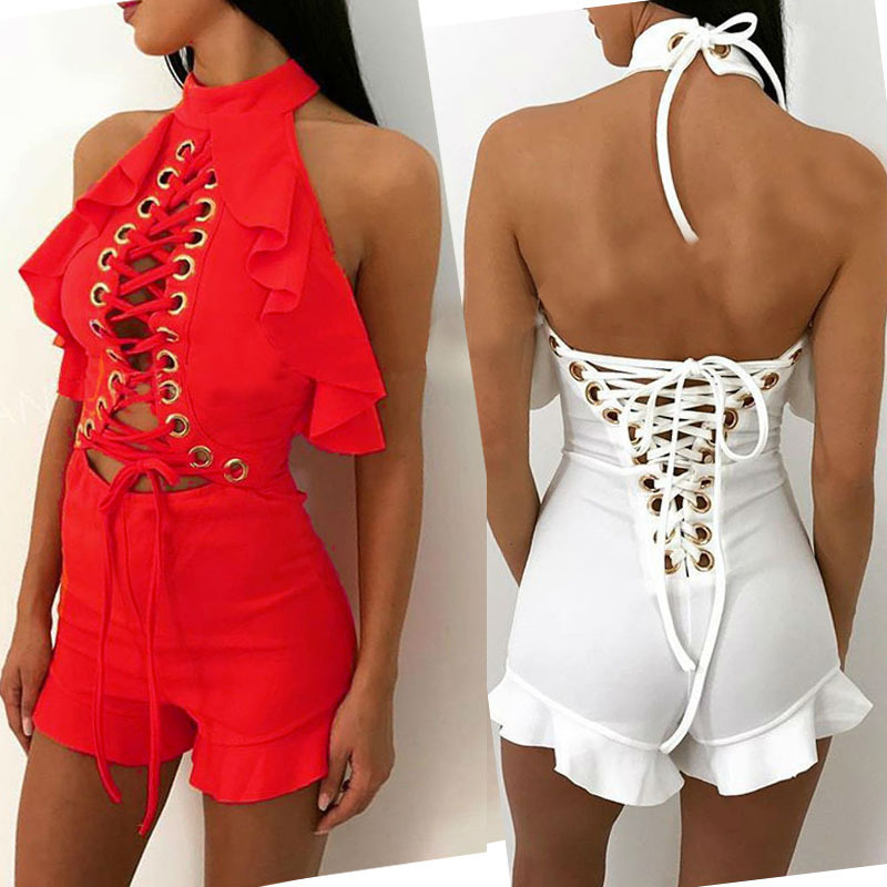 Summer Halter Lace Up Ruffles Sexy Bodysuit Women Jumpsuit Sexy Backless Rompers Womens Short bandage Jumpsuit Playsuit Overalls