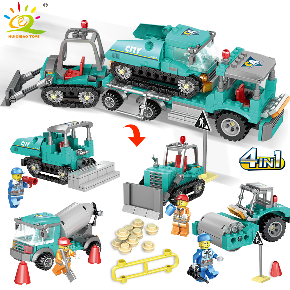 все цены на 462pcs 4in1 Engineering Excavator Bulldozer Vehicles Building Blocks Compatible Legoed City Truck Construction Toys For Children онлайн