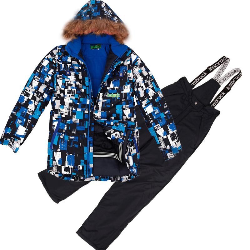 цена на Winter Children Outerwear Warm Thicken Waterproof Coat Sporty Snow Ski Suit Sets Windproof Boys Girls Jacket 7-16T