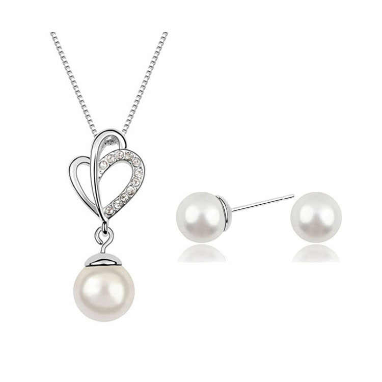 2015 Wholesale Simulated White Simulated Pearl Heart Shape Pendants Necklace Stud Earring Jewelry Sets For Women