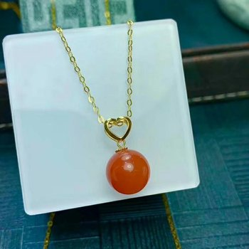 shilovem 18K yellow Gold Natural south Red agate pendants no necklace fine Jewelry classic gift plant gift new mymz9.5-a10nh
