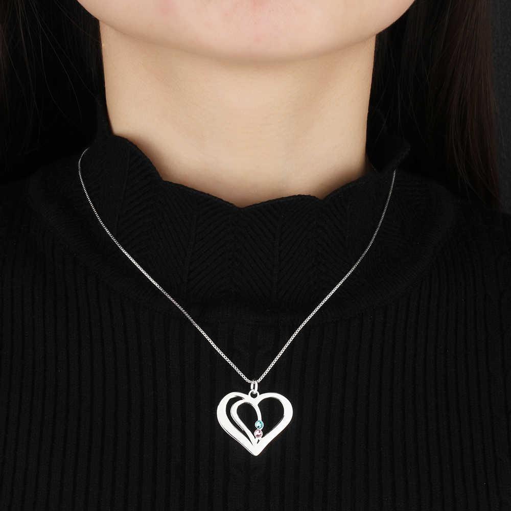 Personnalisé gravé nom coeur collier pendentifs personnalisé pierre de naissance 925 en argent Sterling collier d'amitié (bijouora NE102359)
