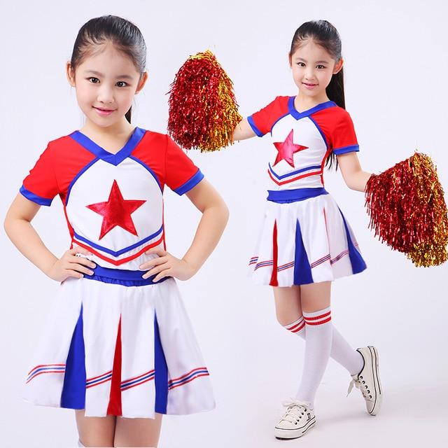 Girl School Uniforms Set Girl Children Calisthenics Suit Kid Student Competition Suit Girl Soccer Team Cheerleader Suits