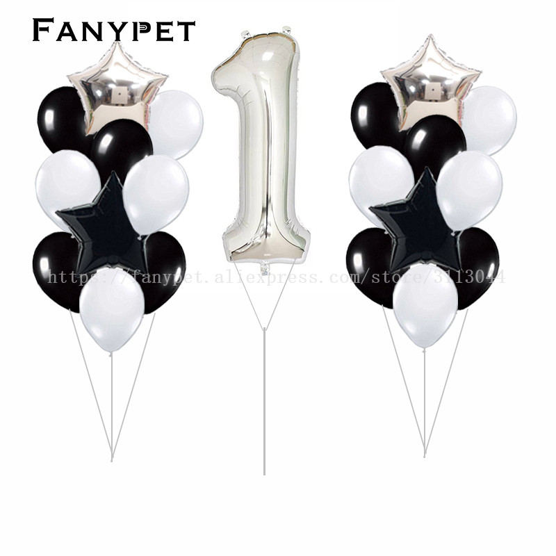 21pcs Baby Shower 1st Birthday Party Decor 40inch Number 1 Foil Balloons Supplies Baby boy Girl balls 2.8g latex helium globos