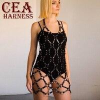 CEA.HARNESS Pu Leather Skirt Belts Punk Garter Rock Harness Waist Rivet Belt Body Bondage Hollow Belt Strap Adjustable Dress